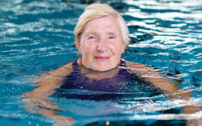 old lady in swimming pool